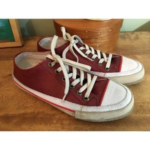 Sundance Catalog Red Leather Sneakers Womens